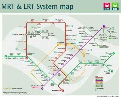 Singapur Schienennetz Netzkarte MRT SRT