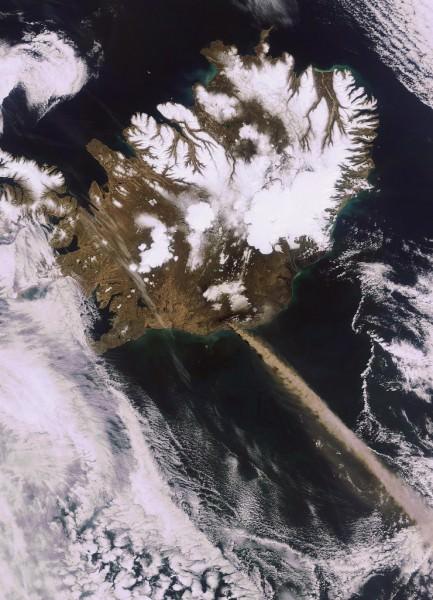 Eyjafjallajoekull Vulkan Satellitenbild ESA