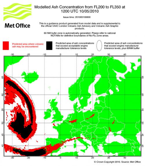 MET Aschwolke Vorhersage 10. Mai