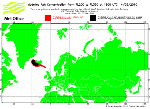 Modellierung Aschewolke 14. Mai Island