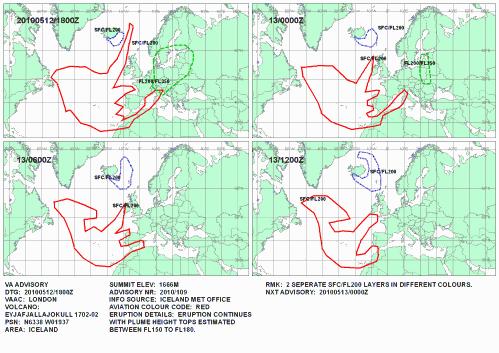 Aschekonzentration Vulkanasche 12. Mai Westeuropa Nordafrika