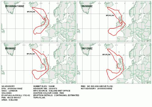 Vulkanasche Ausbruch Europa 4. Mai Einschränkungen