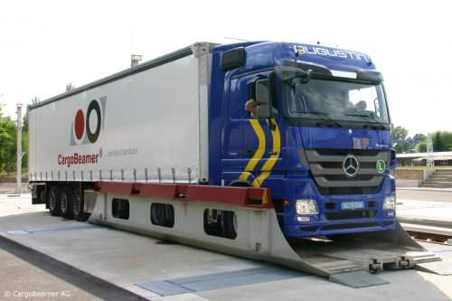 CargoBeamer Zug Cargojet Konzept Kombinierter Verkehr waggonaufsatz