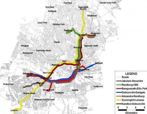 Johannesburg BRT Rea Vaya Netzkarte Netzplan Fußballweltmeisterschaft 2010