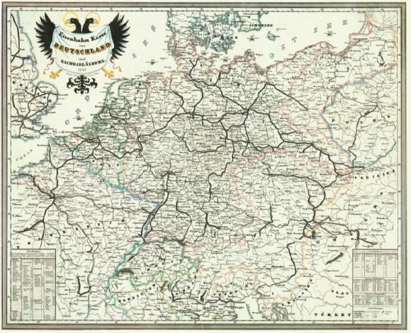 Bahnkarte Deutschland 1849