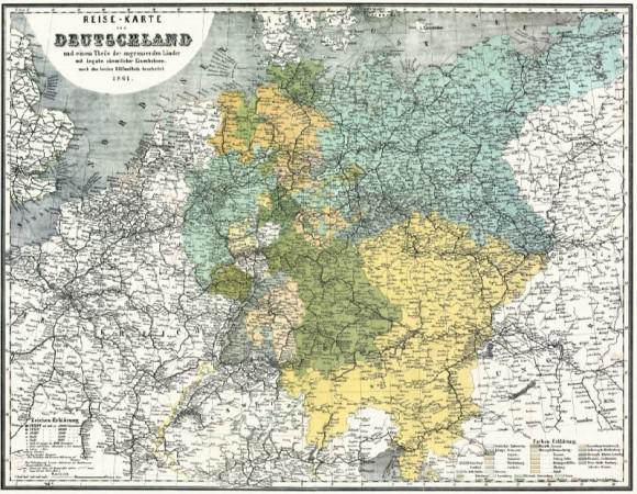 Bahnkarte Deutschland 1861