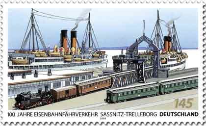 Sonderbriefmarke Eisenbahnfährverkehr Sassnitz - Trelleborg