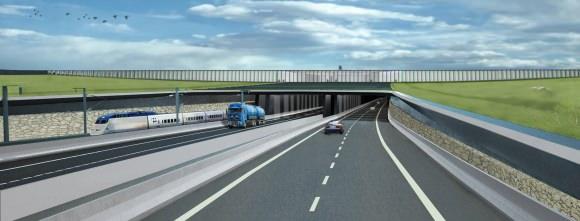 Tunneleinfahrt Fehmarnbelt-Tunnel auf der dänischen Seite mit Tunnelportal