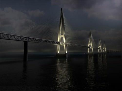 Fehmarnbeltbrücke zwischen Deutschland und Dänemark bei Nacht