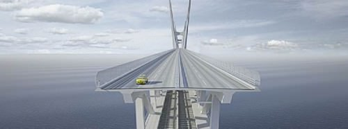 Fehmarnbeltbrücke Ebenen Eisenbahn Straßenverkehr Entwurf Zeichnung