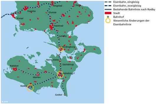 Karte Hinterlandanbindung Dänemark Fehmarnbeltquerung Brücke Tunnel