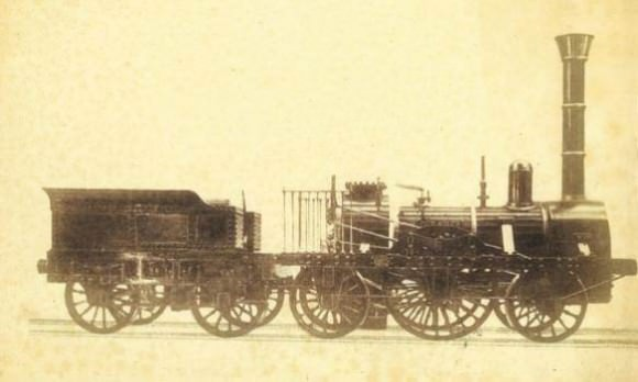 Lokomotive Adler der Bayerischen Ludwigsbahn zwischen Nürnberg und Fürth