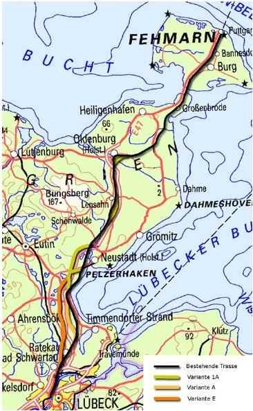 Trassenführung Fehmarnbeltquerung FBQ Eisenbahnanbindung