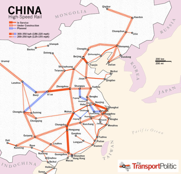 China Hochgeschwindigkeitszugnetz Strecken Netz Karte