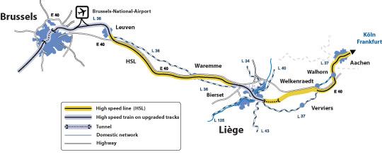Netz Hochgeschwindigkeitstrassen Belgien Richtung Deutschland Thalys ICE TGV