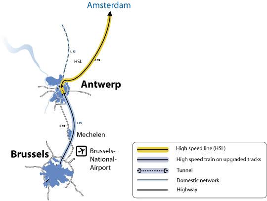 Netz Hochgeschwindigkeitstrassen Belgien Richtung Niederlande Thalys ICE TGV