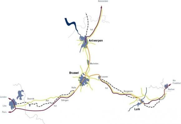 Netz Hochgeschwindigkeitstrassen Belgien Thalys ICE TGV