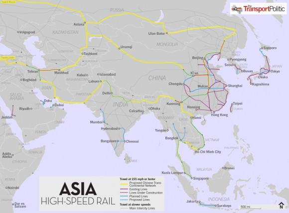 Hochgeschwindigkeitsstrecke China Europa durch Asien und Russland