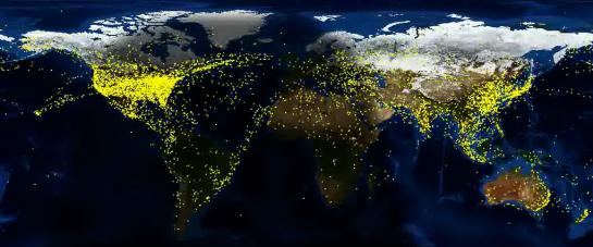 Visualierung des weltweiten Luftverkehrs über Transponder