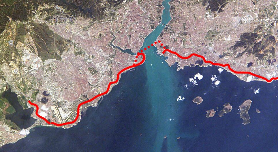 Verlauf des Marmaray-Tunnel in Istanbul
