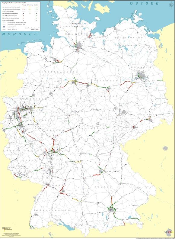 Karte Projektplan Straßenverkehrstelematik 2015 Autobahnen Freigabe Standsreifen Einsatz von Telematik Verkehrsbeeinflussung Anlagen Ramsauer