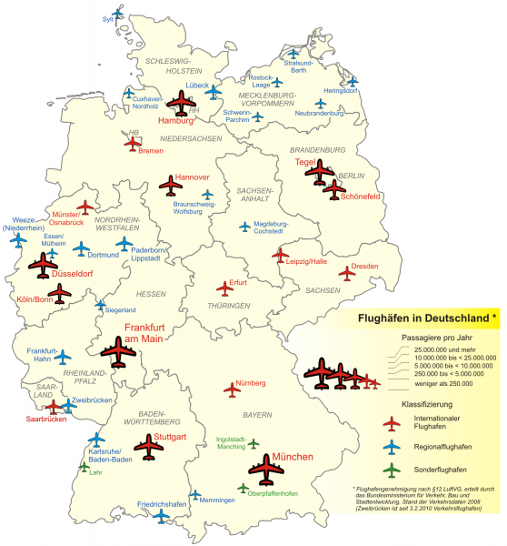 Karte Flughäfen in Deutschland Primärflughäfen Sekundärflughäfen Tertiärflughäfen Quartiarflughäfen Regionalflughäfen