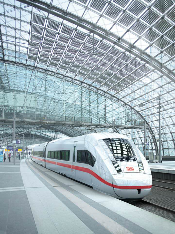 3D-Modell des ICx, Frontansicht, Neuer ICE, Neuer IC, Neuer EC, Deutsche Bahn, Siemens, Fernverkehr, Fernverkehrszug Visualisierung Berlin Hbf