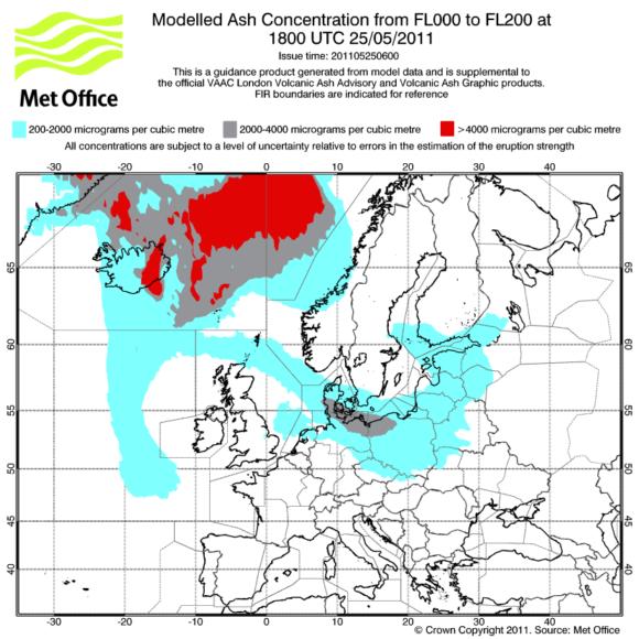 Prognose Aschewolke Aschekonzentration Grimsvötn Europa 25.05.2011 19 Uhr MET Office London