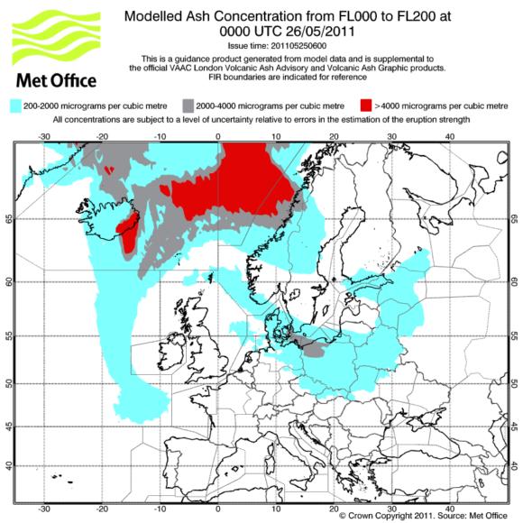 Prognose Aschewolke Aschekonzentration Grimsvötn Europa 26.05.2011 1 Uhr MET Office London