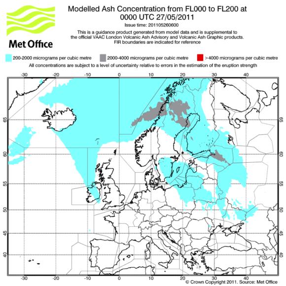 Prognose Aschewolke Aschekonzentration Grimsvötn 27. Mai 2011 Europa 1 Uhr MET Office