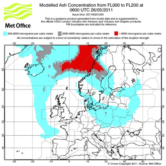 Prognose Aschewolke Aschekonzentration Island Grimsvötn Europa Deutschland 26. Mai 2011 07 Uhr