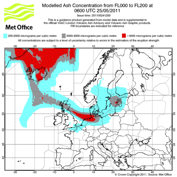 Vulkanasche Konzentration 25. Mai 2011 Prognose MET Office