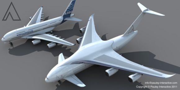Größtes Flugzeug der Welt von Phil Pauley Designstudie Superjumbo neben Airbus A380 Größenvergleich