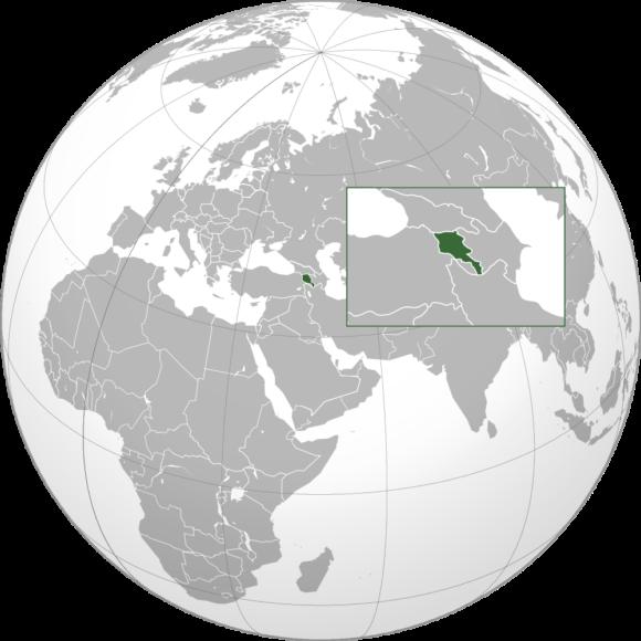 Karte von Armenien orthografische Projektion
