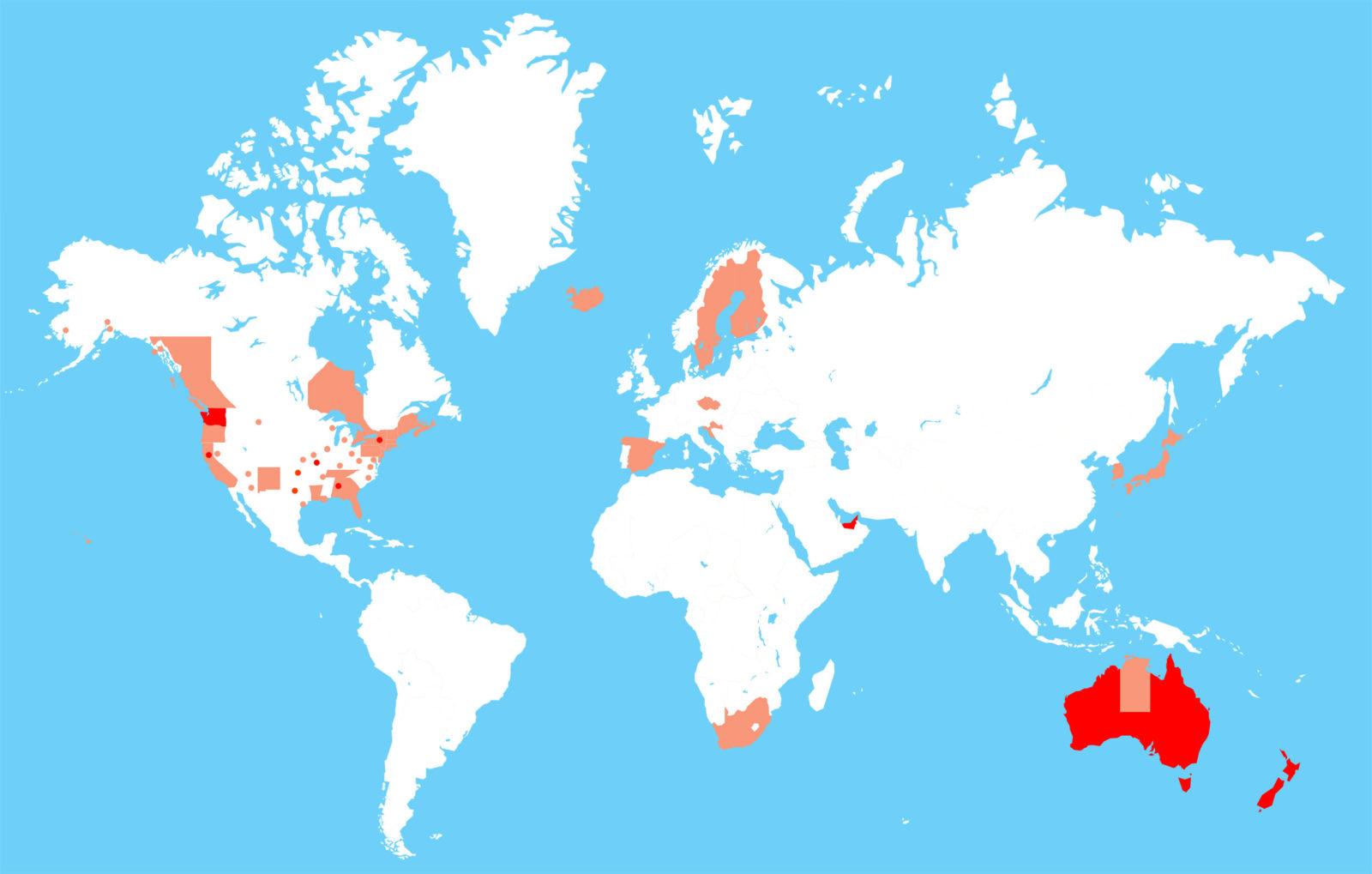 Länder mit einer vollständigen oder teilweisen Radhelmpflicht, Karte weltweit, Australien, Finnland, USA Städte