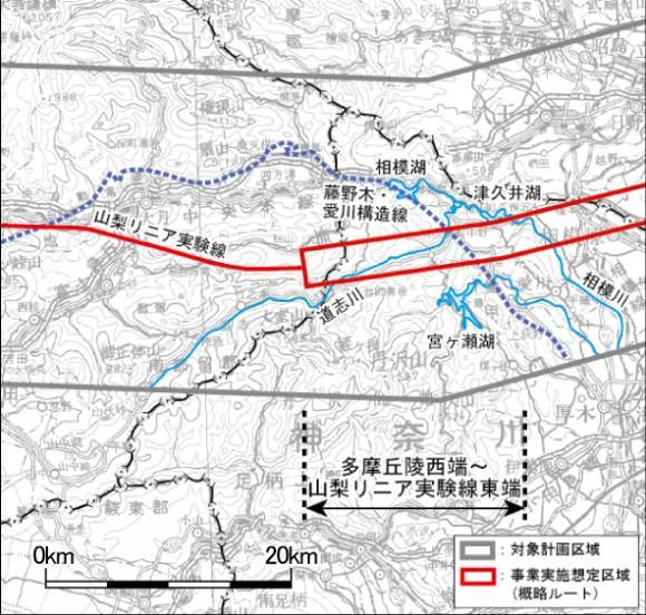 Chuo-Shinkansen Streckenführung Japan Maglev zwischen Yamanashi und Tama