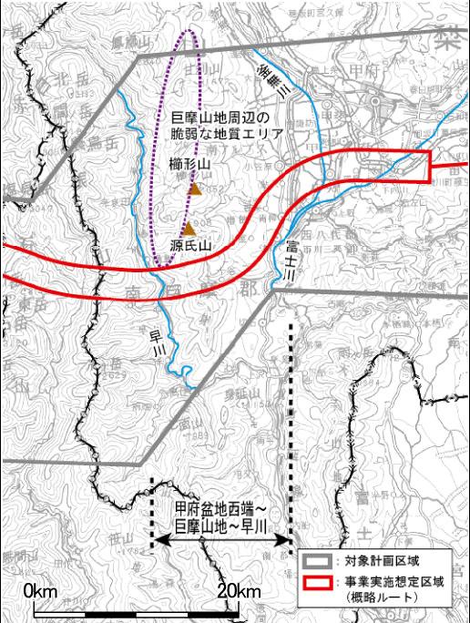 Chuo-Shinkansen Streckenführung Japan Maglev zwischen Kofu Basin und dem Fluss Hayakawa