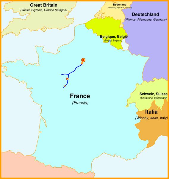 Lignes à grande vitesse (LGV) Atlantique Karte zweite Schnellfahrstrecke Frankreichs