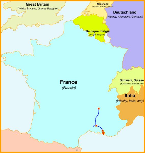 Karte der LGV Méditerranée im Süden Frankreichs TGV-Trasse
