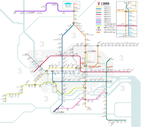 Metro von Guangzhou Ausbauvorhaben Planung Zukunft Entwicklung