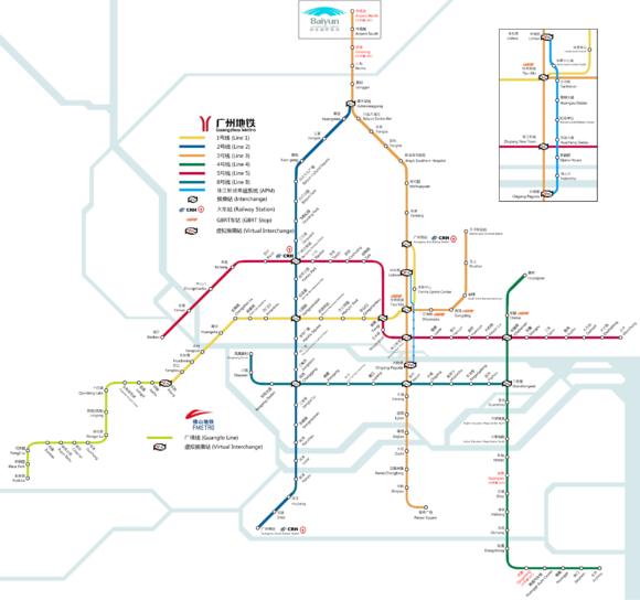 Guangzhou Metro U-Bahn Linienplan Netzplan Strecken