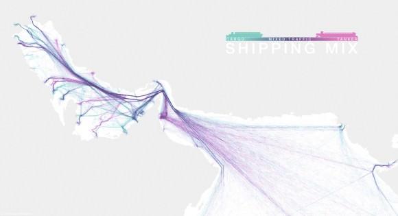 Schiffsrouten Visualisierung Öltanker Persischer Golf