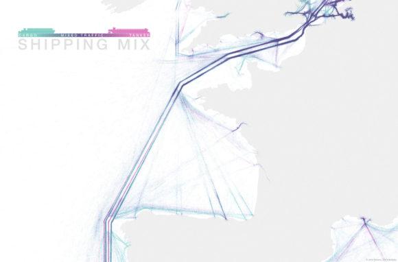 Schifffahrtsrouten Südwest Europa Ärmelkanal weltweit Visualisierung