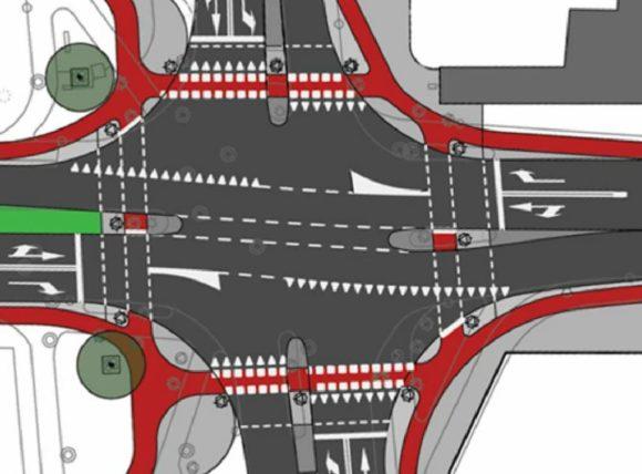 Niederlande Kreuzungsbereich mit einer radfahrerfreundlichen Abbiegerbeziehung und einer hohen Verkehrssicherheit Feinplanung