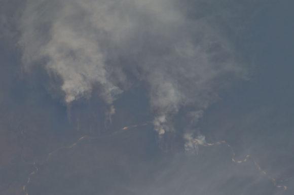Satellitenbild Brandrodung von Regenwald am Rio Xingu, Brasilien zur Biospritherstellung ILUC