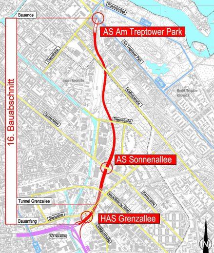 Berlin A 100 Bauabschnitt 16 Grenzallee - Am Treptower Park