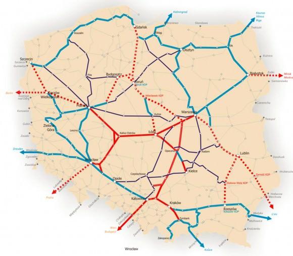 Das vorgeschlagene Streckennetz der Hochgeschwindigkeitsbahn in Polen bis 2050