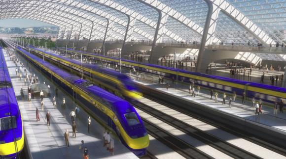 Rendering Hochgeschwindigkeitszug in Kalifornien USA Bahnhof CAHSR
