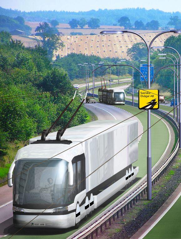 LKW mit Oberleitungen elektrische Autobahn Schweden Elektro-Lkw