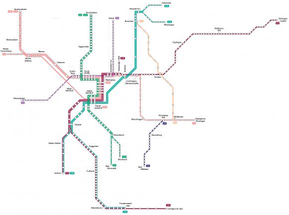 Netzkarte der Stadtbahn in und um Karlsruhe, Stand 2011